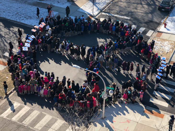 Chicago Students Form Human Peace Sign To Protest Guns